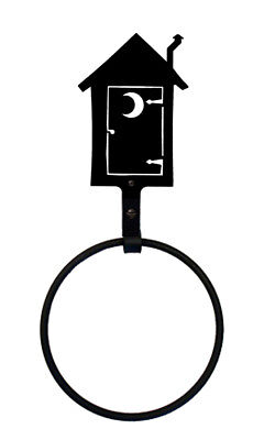 Wrought Iron Towel Ring Outhouse Kitchen Bathroom Home Decor Accent Bath Dish