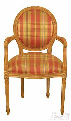 46431EC: ETHAN ALLEN Plaid Print Upholstered French Armchair