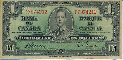 1937 Bank Of Canada $1 Note **historic Currency** Nice Collection Addition