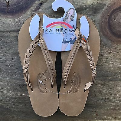 01e3412f023b74 Women Rainbow Sandals Flirty Braidy Strap Sierra Brown Premier Leather