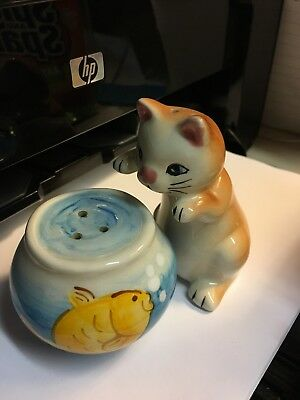 Adorable Cat Fishing Playing In Fish Bowl Salt Pepper Shakers Pottery