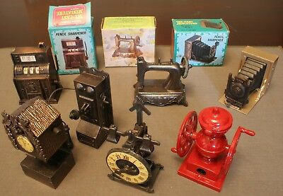 Vintage Old Fashioned Metal Pencil Sharpeners, Lot of 7