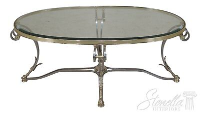 46434EC: LABARGE Brass & Steel Oval Coffee Cocktail Table