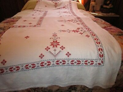 """Vintage Large Red & Grey Cross Stitch Tablecloth 62"""" X 82"""""""