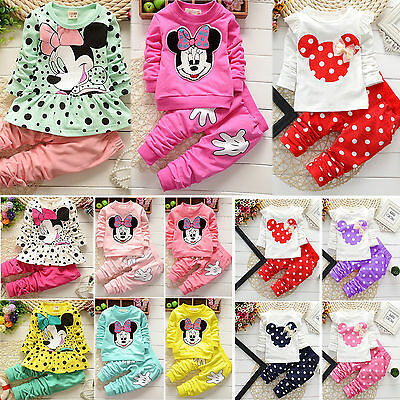 2PCS Toddler Kids Baby Girls Minnie Mouse Tops Shirt Pants Outfits Set Tracksuit