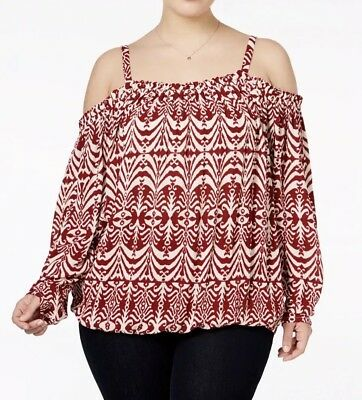 10f5c815aa78b inc international concepts plus size printed cold shoulder peasant top 24W