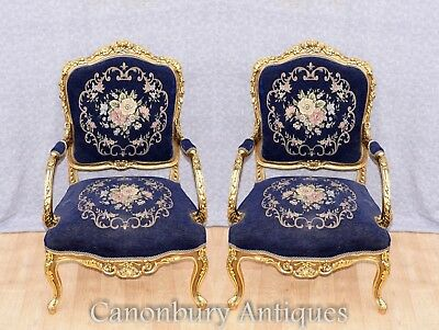 Pair Empire Gilt Arm Chairs - French Accent Fauteuils