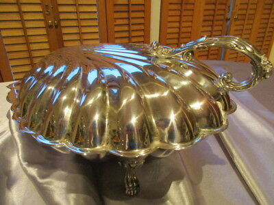 Stunning Large Silverplate Scallop Shell Footed & Covered/Hinged Serving Bowl