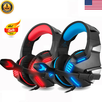3.5mm Gaming Headset Stereo Bass Surround LED Light for PS3 PS4 Xbox ONE w/ Mic