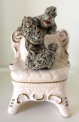 Vintage Shabby Chic Ceramic French Poodle on Pink Boudoir Chair Shafford 5B/508