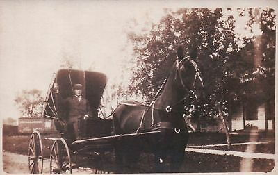 RPPC Real Photo Man with HORSE Pulled Buggy Vintage Postcard