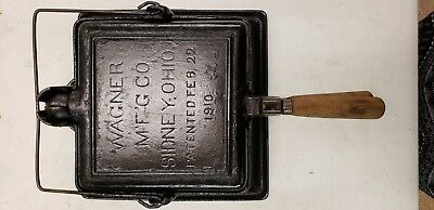 Antique Wagner Ware Cast Iron SQUARE High Tall Base Waffle Iron 1910