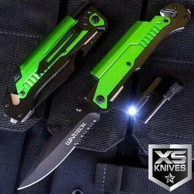 "8.75"" Green TACTICAL MULTI-FUNCTIONAL Spring Assisted Outdoor Pocket Knife"