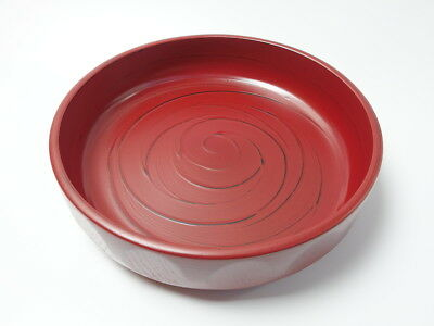 Japanese antique vintage Negoro red lacquer wood round large bowl chacha