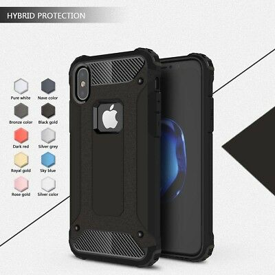 For iPhone XR XS Max 8 7 6 Plus Rubber Dual Layer Tough Heavy Duty PC Case Cover