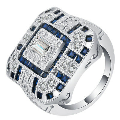 Fashion Women 925 Silver Blue Sapphire&White Topaz Wedding Bridal Gift Size 6-10