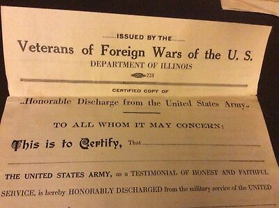 WW1 Dept. of Illinois blank Honorable Discharge form, certified copy