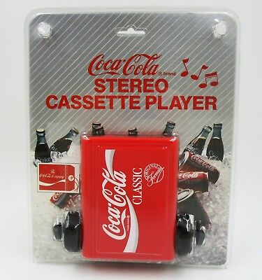 *NOS 1989 Coca Cola Classic Cassette Player w Headphones In Package(Walkman Like