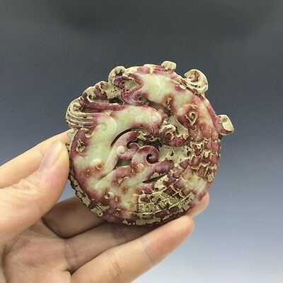 Chinese antique- ancient jade-hand-carved Longfeng Chengxiang Pendants a851