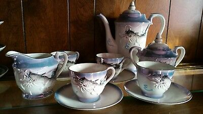 Vintage Japanese Dragonware Coffee/tea  set 11 Pieces !