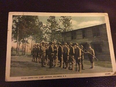 WW1 postcard, Rifle Inspection, Camp Jackson SC from brother Herman, stamps