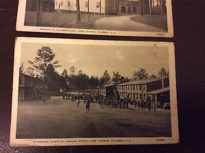 2 WW1 postcards, Knights of Columbus/Afternoon sports  Company St, Camp Jackson