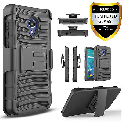 For AT&T Axia Phone Case, Armor Belt Clip Cover+Tempered Glass Screen+Pen
