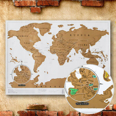 CA Deluxe Travel Edition Scratch Off World Map Poster Personalized Journal Log