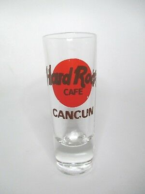 """Vintage Hard Rock Cafe CANCUN, Mexico Red Logo Collectible Shot Glass 4"""""""