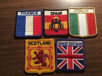 vintage sew on patches -G.B.,FR,Italy, Spain, and Scotland