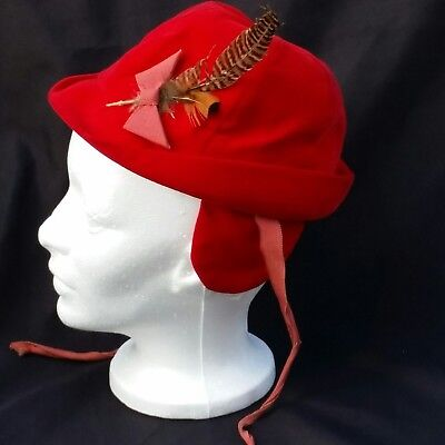 Fedora Hat Baby Toddler Boy Red Velour Feather Ear Flaps Ties Winter Vintage