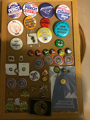 Union pins & buckle, IBEW, ILWU, President, Masonic,Veterans, 46 items rare lot