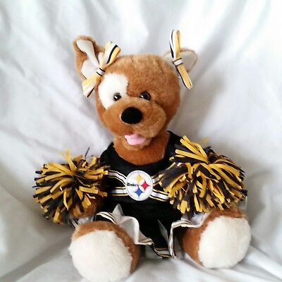 Build A Bear NFL Pittsburgh Steelers Cheerleader Dog Brown Pom Poms Dress Bows