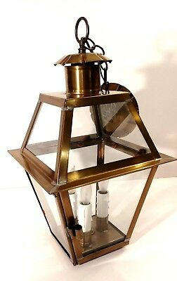 Solid Brass Large Vintage American Heritage Colonial Ceiling Pendant Coach Lamp