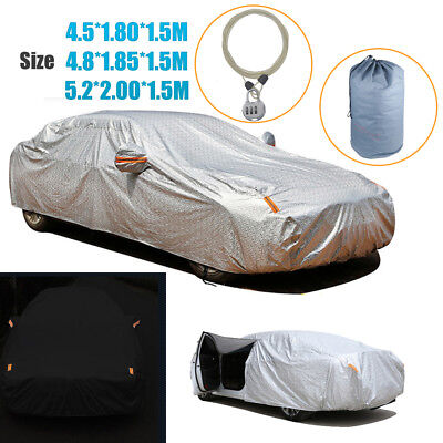 Aluminum Waterproof Double Thicker Car Cover Rain Resistant UV Dust Protection