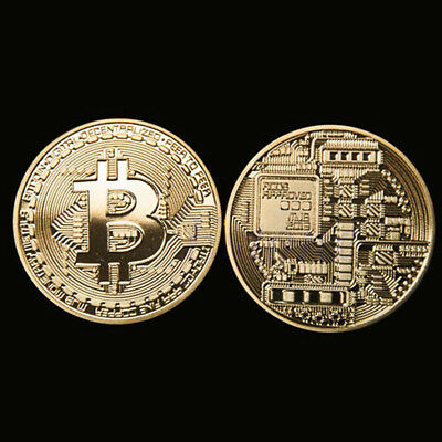 Gold Bitcoin Commemorative Round Collectors Coin Bit Coin Gold Plated Coins LN