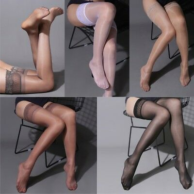 Women High Stockings Lace Top Hold Up Shiny Thigh Hosiery Clubwear Lingerie