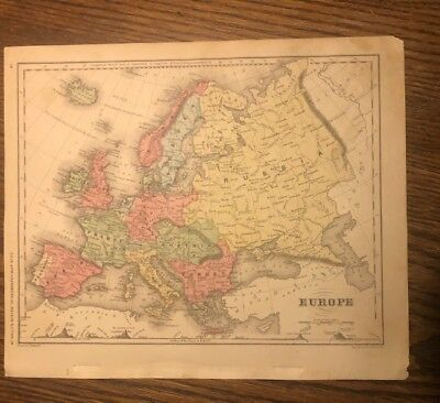 Two Original Antique maps of Europe. 1853 and 1875