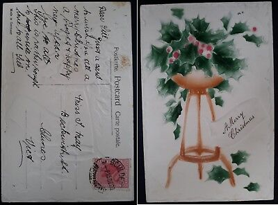 1909 Western Australia Christmas Postcard from BOULDER to Clunes Victoria