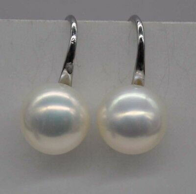 GORGEOUS! Natural Rainbow white 10mm freshwater pearl earring J19766