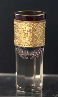 Moser graduated purple cut cordial with gilt cameo frieze, early 20th c. [11735]