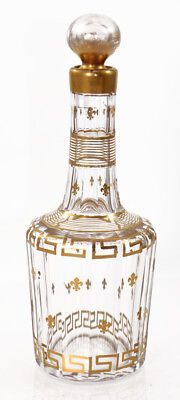Gilded cut glass decanter, Baccarat Cannelure shape, 1916 catalog [11738]