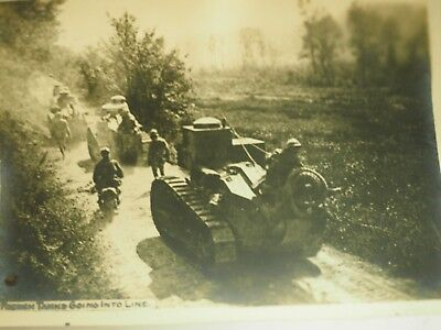 WWI French Tanks Going into Line Photo 3.25 x 4.5