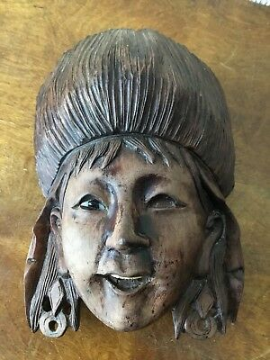Vintage/Antique Hand Carved Wooden Russian Womans Head Wall Mask