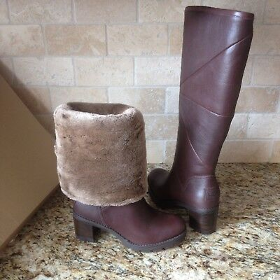 Ugg Avery Stout Brown Leather Knee High Heel Tall Boots Size Us 10 Womens