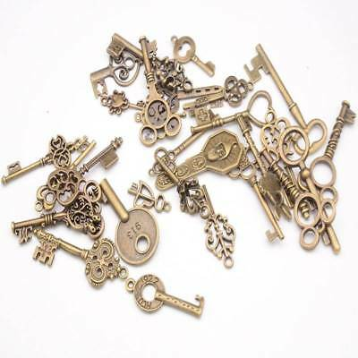 100g Vintage Old Look Bronze Skeleton Keys Fancy Heart Bow Pendant Charms