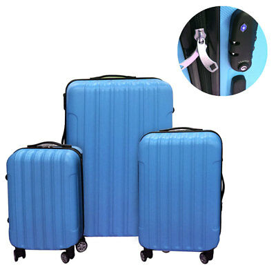 3PCS Luggage Travel Set Bag ABS Trolley Carry on Hard Shell Suitcase w/TSA lock