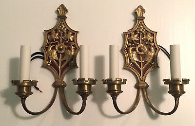 Pair of Antique Brass Sconces c. 1920 Restored and Rewired by Remains Lighting