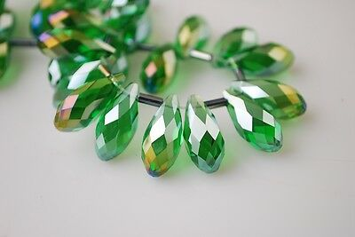 10pcs 16X8mm Teardrop Faceted Crystal Glass Pendant Loose Beads Grass Green AB