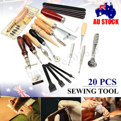 20Pcs Leather Craft Punch Tool Kit Stitching Carving Working Sewing Saddle